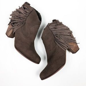 Steve Madden Cian Tan Suede Leather Fringe Booties
